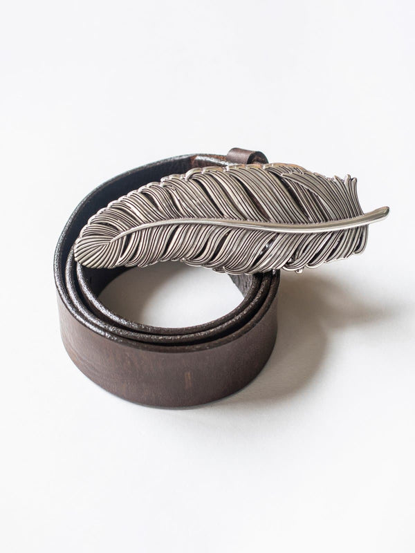 Brown Leather Belt with Silver Feather Buckle
