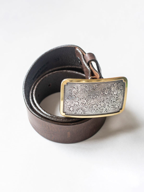 Brown Leather Belt with Hillier Buckle