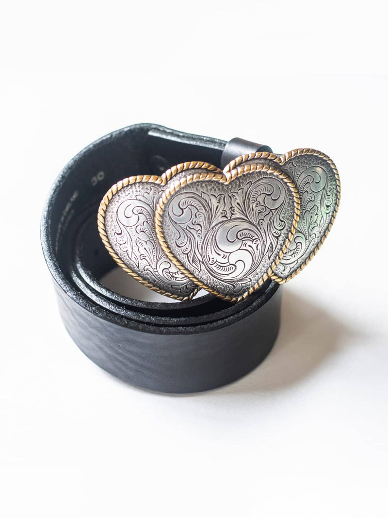 Black Leather Belt with Triple Heart Gold Buckle