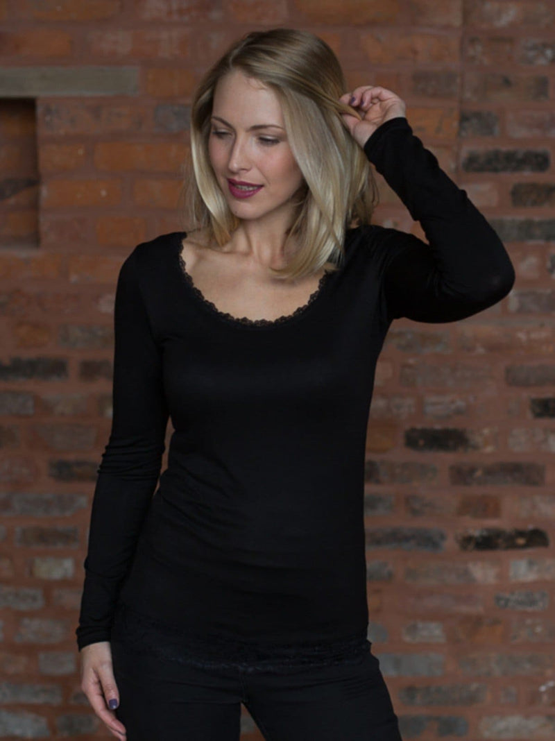Long Sleeved Vests with Lace trim in Black & Dark Grey
