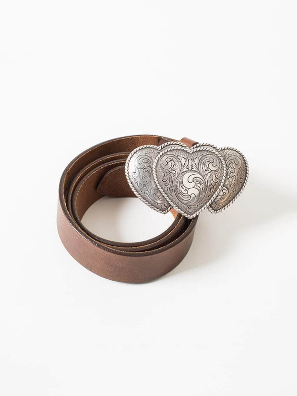 Brown Leather Belt with Triple Heart Silver Buckle