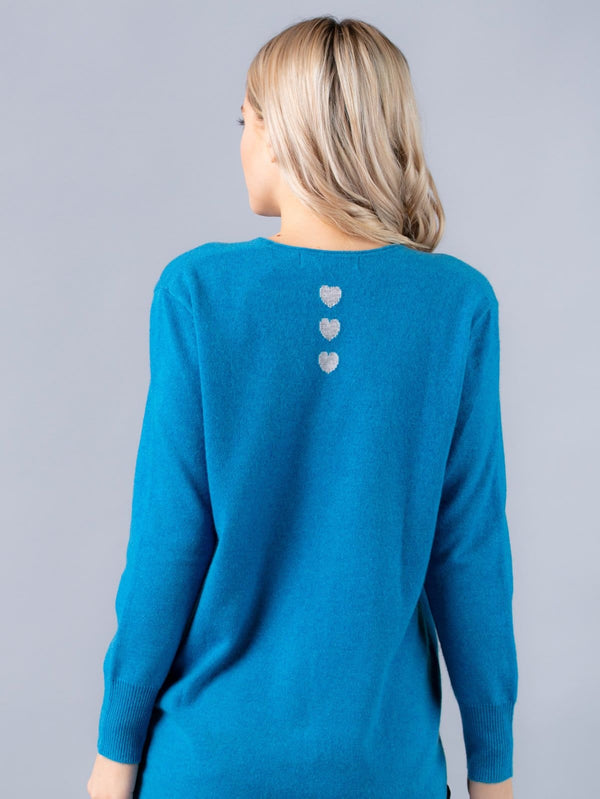 Silver Pink - Long Line Jumper in Ocean Blue