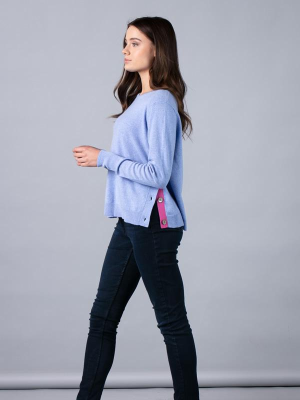 Side Button Jumper in Denim