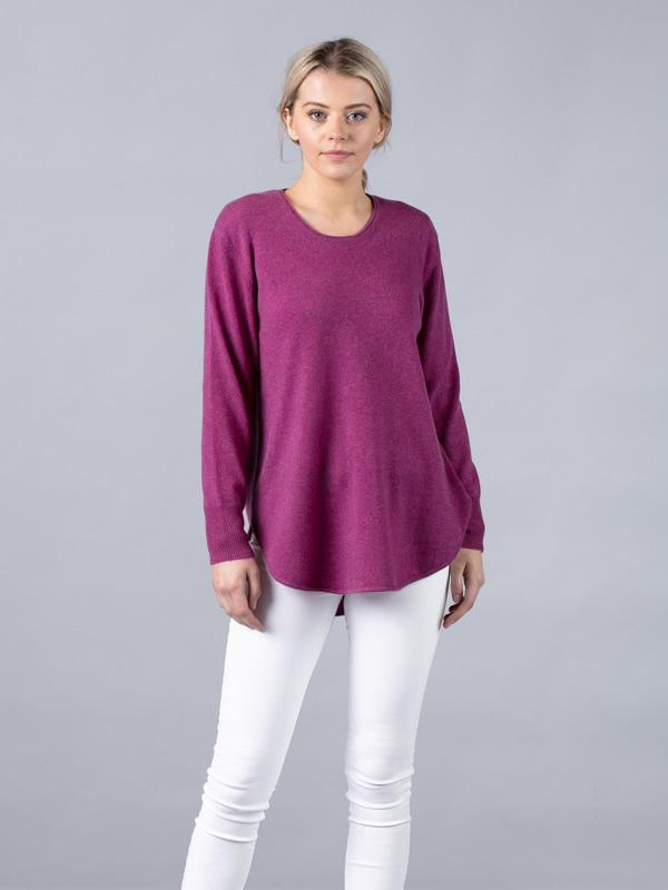 Silver Pink - Long Line Jumper in Heather