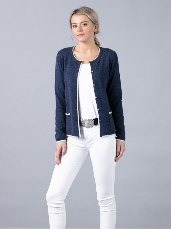 Short Trim Cardigan in Blue