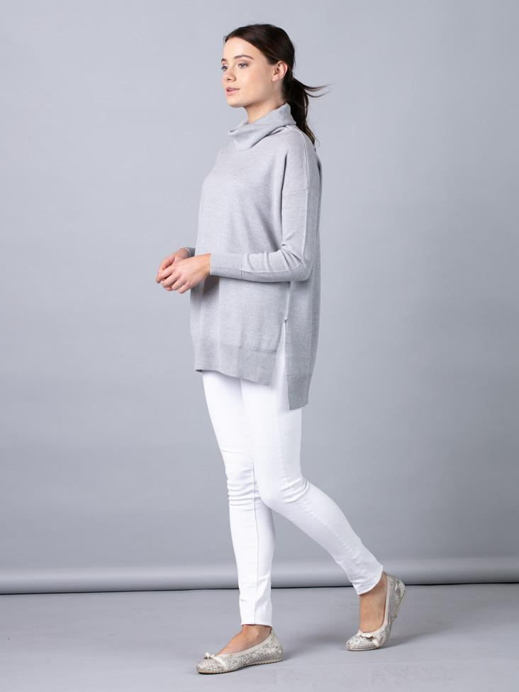 Merino Wool Rollneck Jumper in Grey