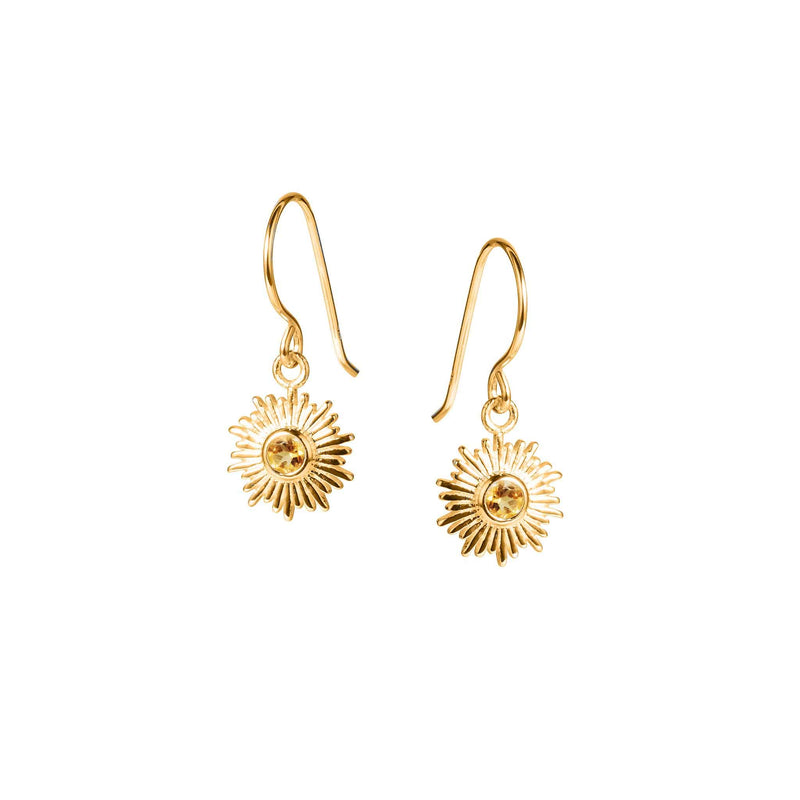 Gold and Citrine Sun Earrings