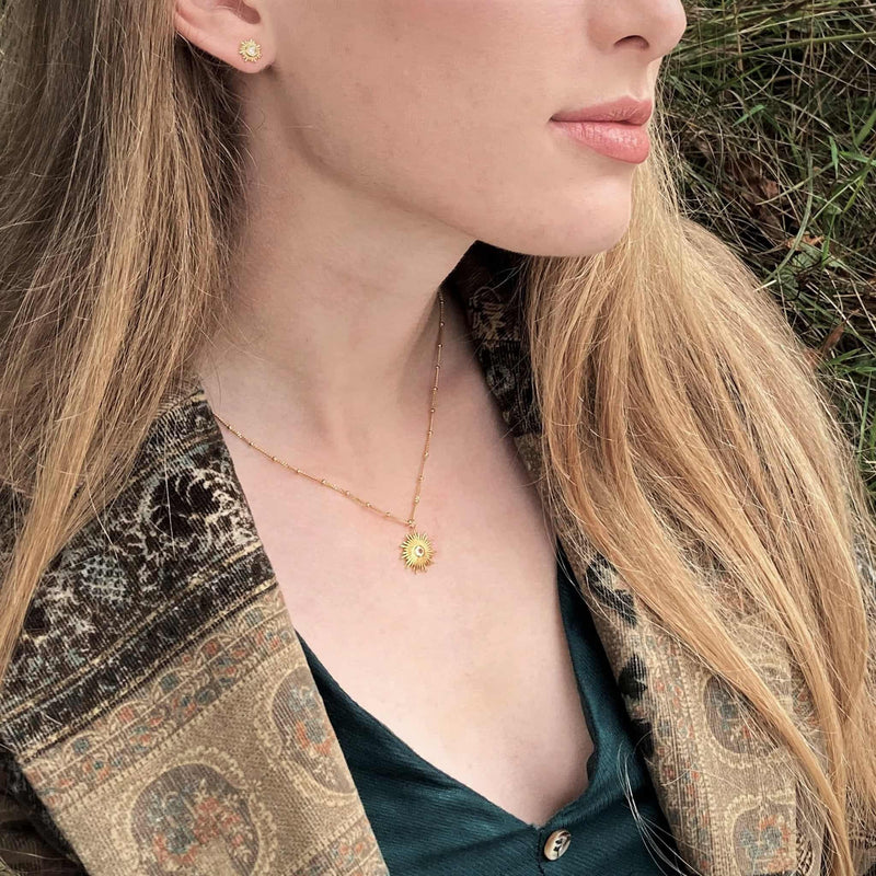 Gold and Citrine Sun Necklace
