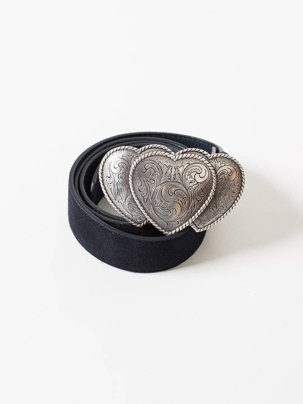 Navy Suede Belt with Triple Heart Silver Buckle