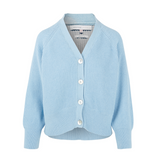 Cotton Knit V Neck Cardigan in Blue