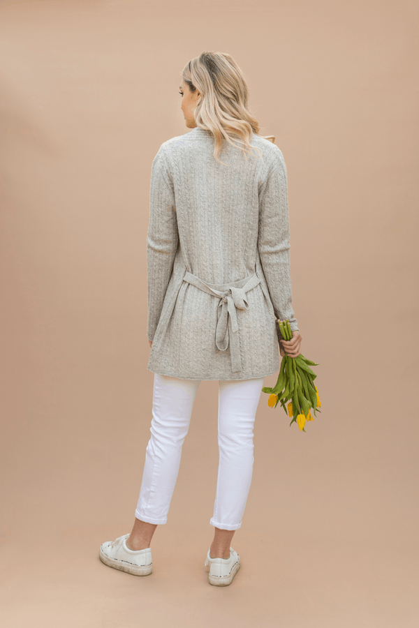 Cable Cardigan in Pale Grey