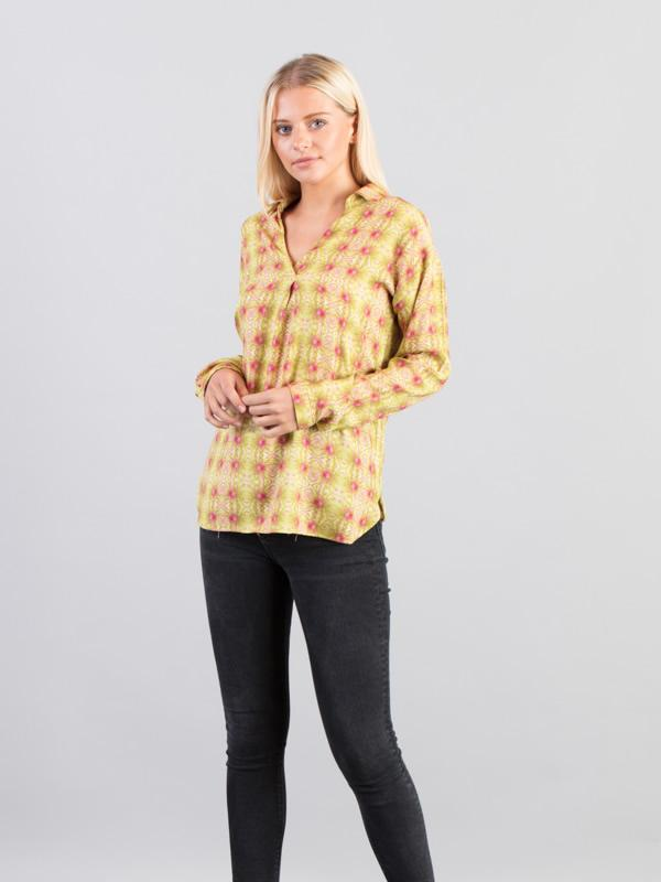 Print Shirt in Lime Green & Pink