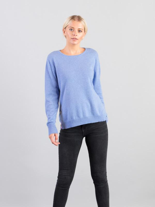 Side Button Jumper in Blue - Silver Pink
