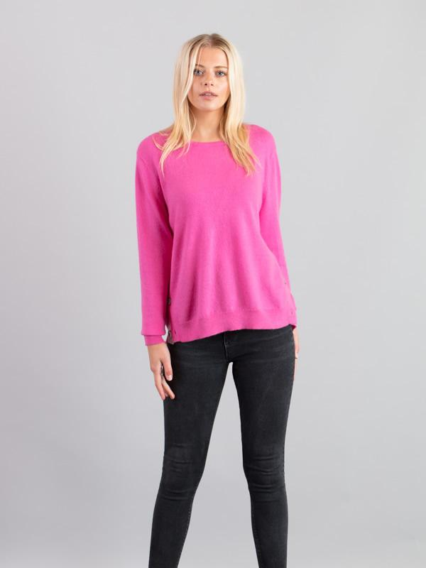 Side Button Jumper in Pink - Silver Pink