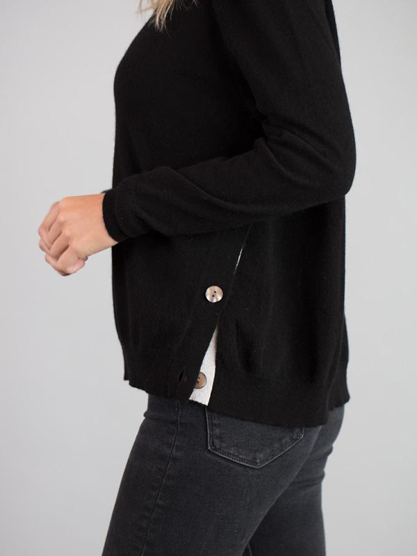 Side Button Jumper in Black