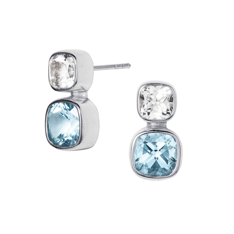 Blue & White Topaz Silver Celestial Stud Earrings