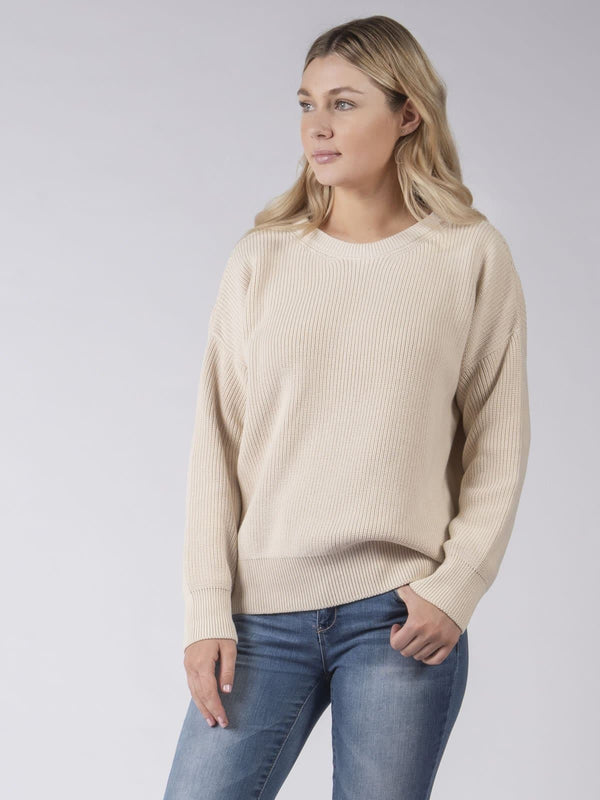 Cotton Knit Jumper in Ecru