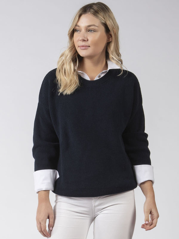 Cotton Knit Jumper in Navy