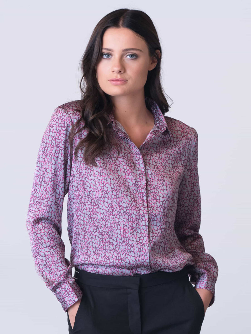 Satin Print Shirt by Silver Pink