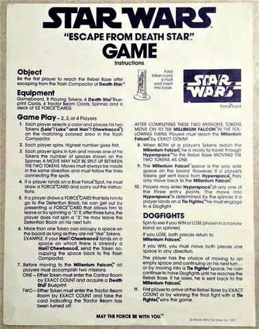 """Star Wars Board Game """"Escape from Death"""" Gaming Instructions"""