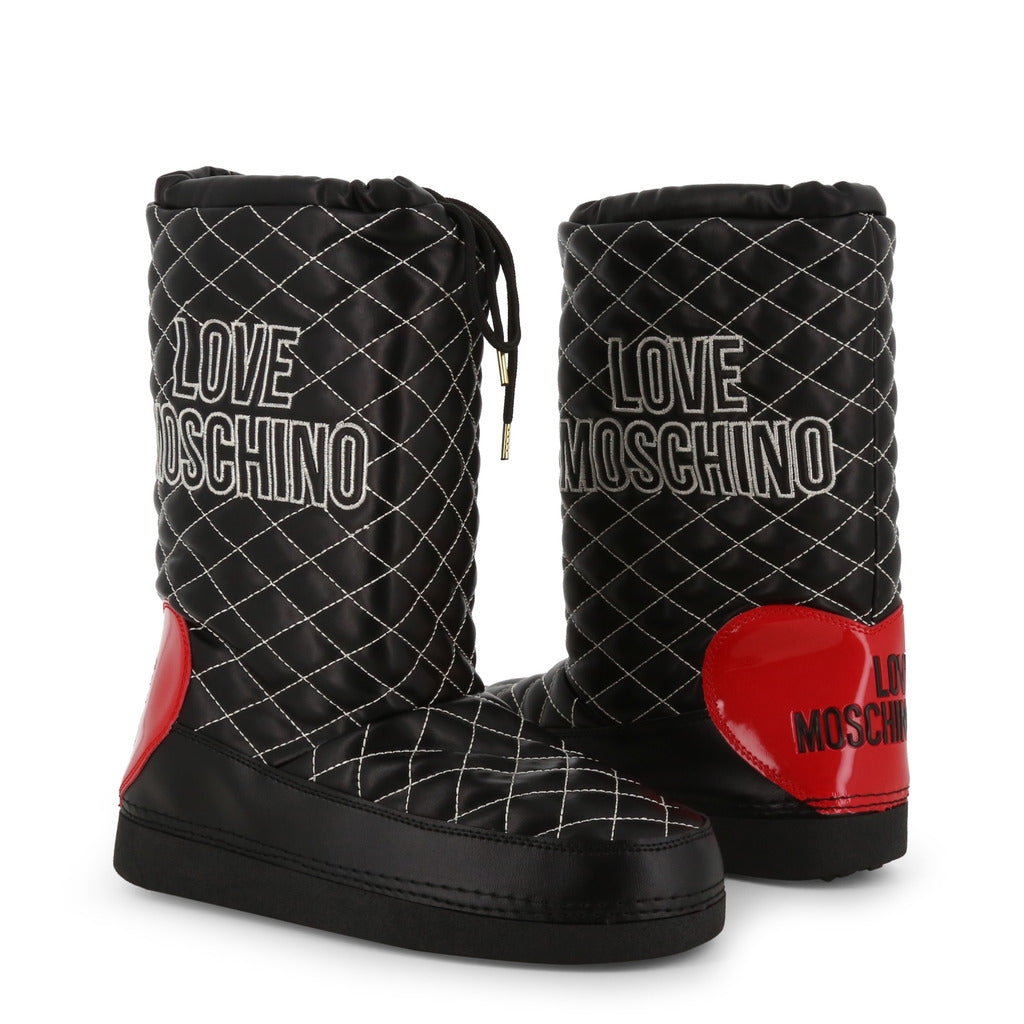 LOVE MOSCHINO CONTRAST STITCH LOGO SNOW BOOTS