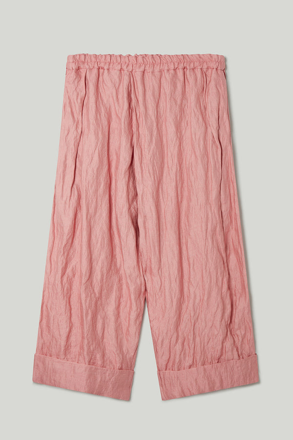 THE BAKER TROUSER / CRUMPLED COTTON SILK OLD ROSE