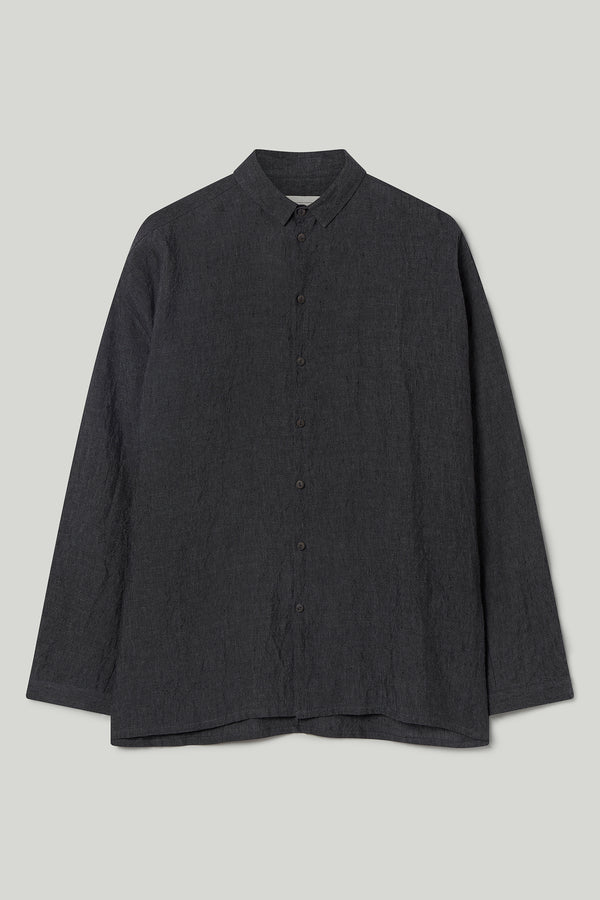 THE DRAUGHTSMAN SHIRT / LAUNDERED LINEN CHARCOAL