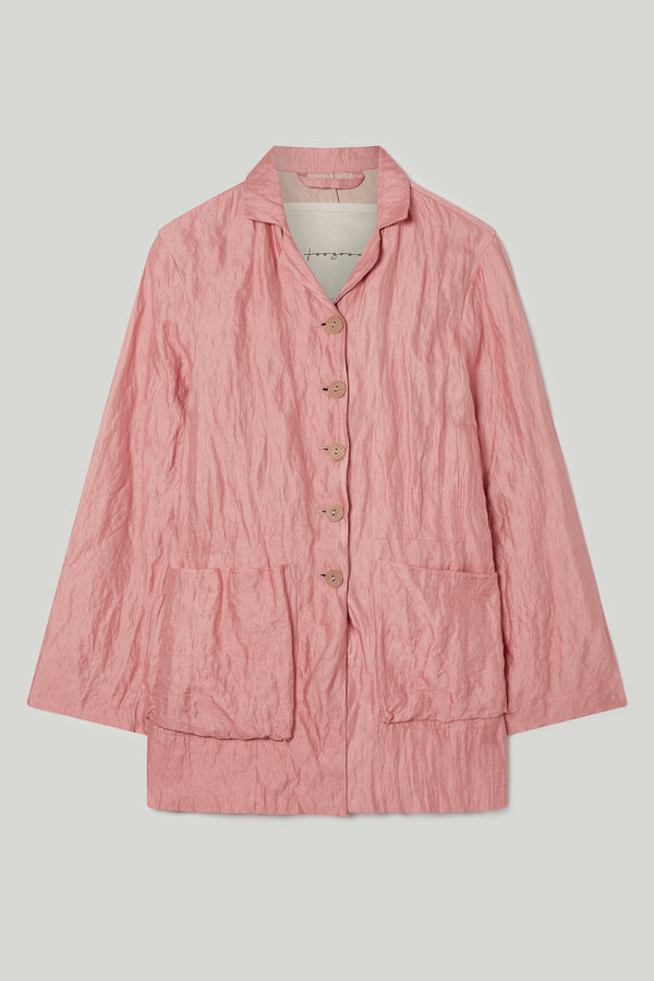 THE PHOTOGRAPHER JACKET / CRUMPLED COTTON SILK OLD ROSE
