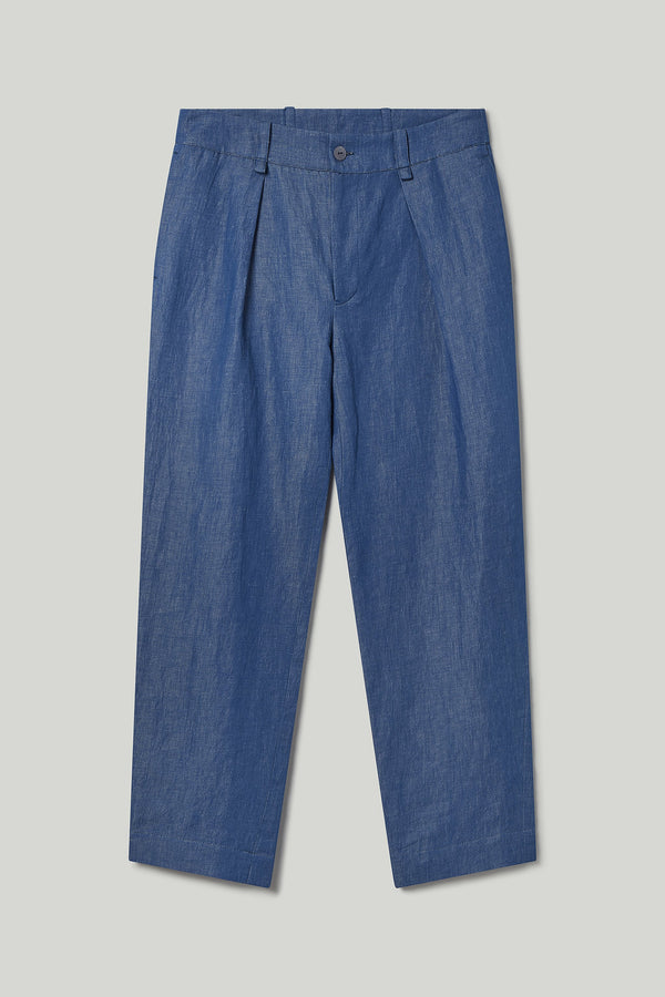 THE DRIVER TROUSER / LINEN COTTON DRILL INDIGO