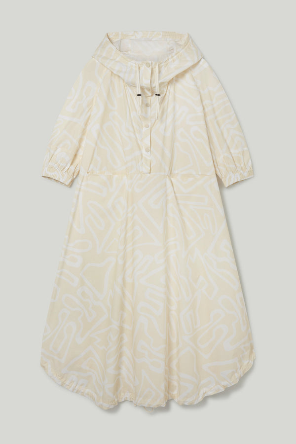 THE FORAGER DRESS / PRINTED POPLIN SANDALS OUTLINE