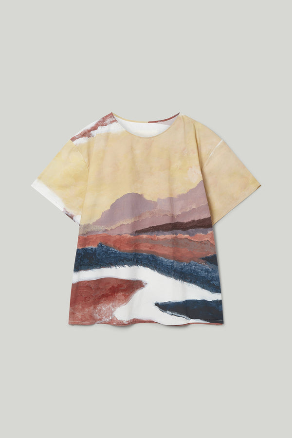 THE PAINTER TOP / PRINTED POPLIN WHITE HORSE