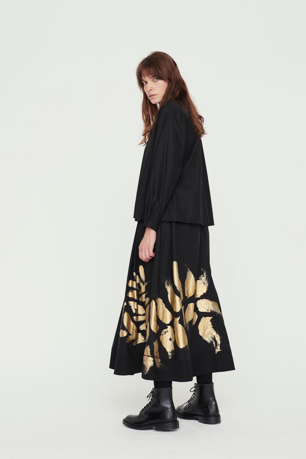 THE BELLRINGER SKIRT / HAND PAINTED LEAF
