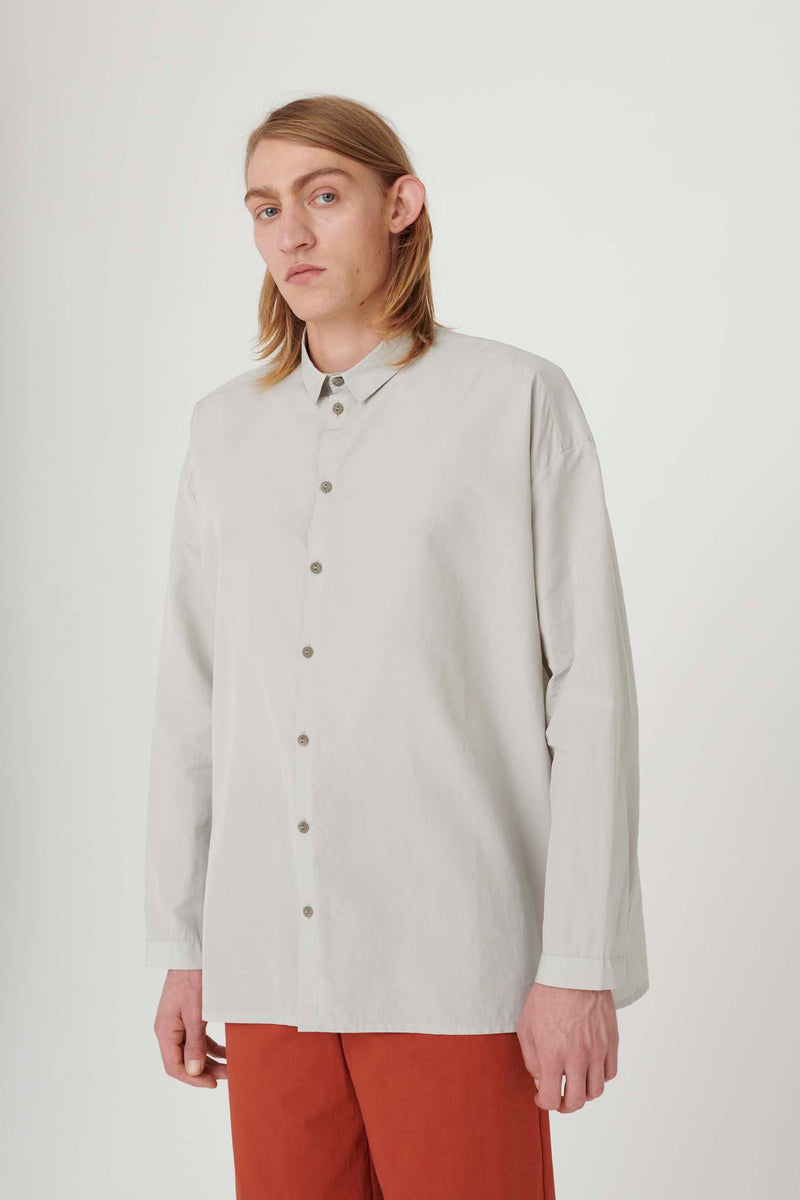THE DRAUGHTSMAN SHIRT / WASHED COTTON SILK CELADON