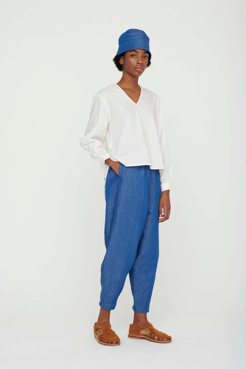 THE ACROBAT TROUSER / LINEN COTTON DRILL INDIGO