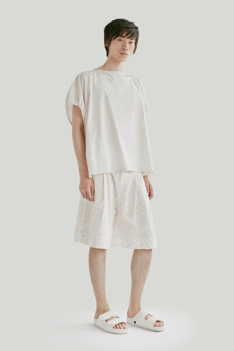 THE MUDLARK SHORTS / PRINTED POPLIN SANDALS OUTLINE