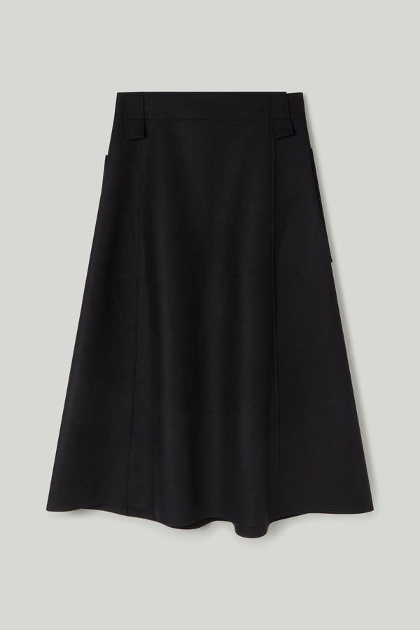 THE CONDUCTOR SKIRT / LAMBSWOOL FELT FLINT