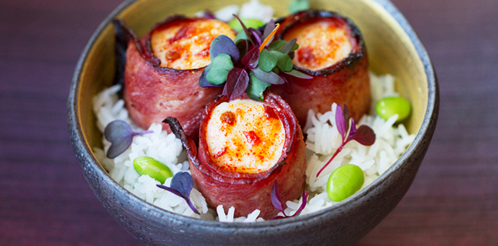 Bacon wrapped scallops rice bowl recipe - WATCHAREE'S