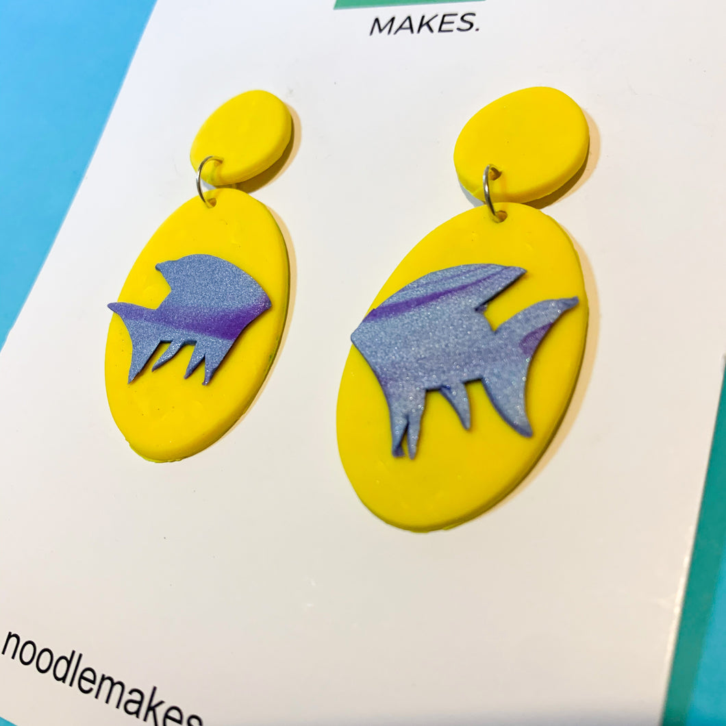 Yellow Rainbow Fish Dangles