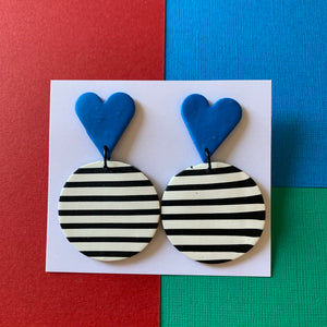 Stripes- Blue Hearts