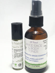 Essential Oil Face Toner Spray and Blend Roll on Combo Pack 10ml