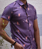 Half Sleeves Shirt - Flamingoess- Bird Print- YOLO (Magenta)