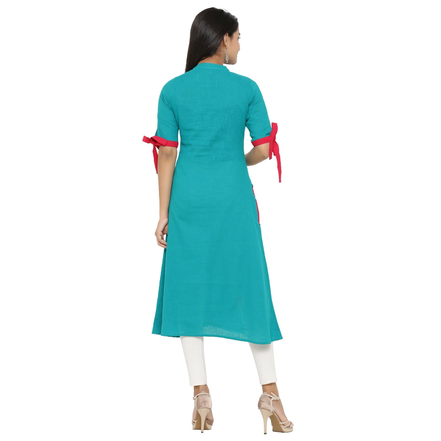 A-line Cotton Blend Solid Kurta (Teal).