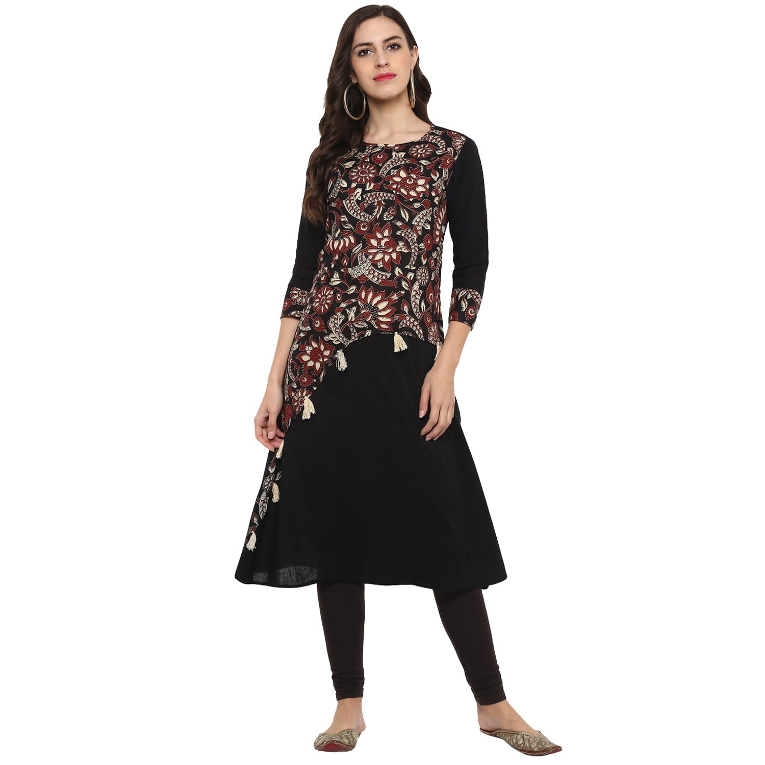 A-line Cotton Slub  Kalamkari Print Kurta (Brown/Black).