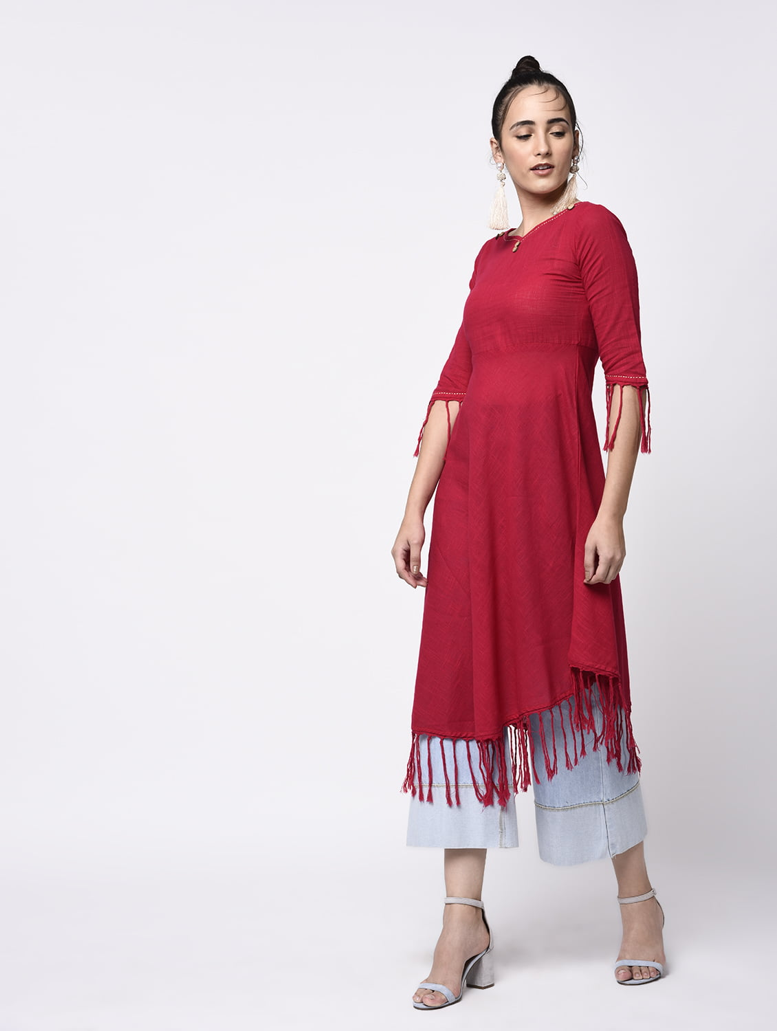 A-Line Cotton Slub Fringes Kurta