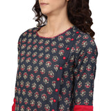 A-line Cotton Slub Floral Printed Kurta (Dark Grey).