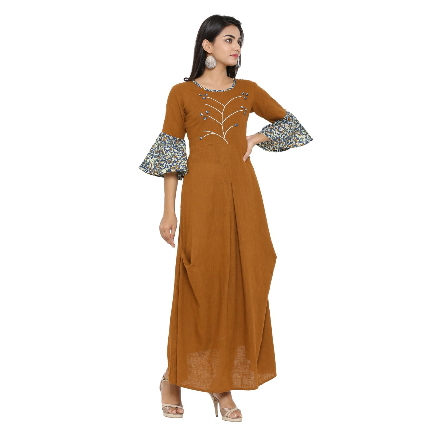 A-line Cotton Blend Embroidery Kurta (Brown).