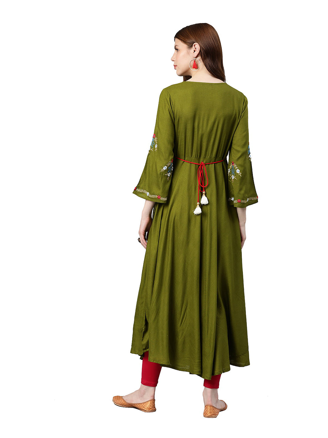 Anarkali - Rayon Buta Embroidered Kurta (Olive green).