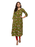 Anarkali -Cotton Floral Print Kurta (Dark green).