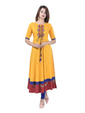Anarkali -Rayon Patch Work Kurta (Mustard)