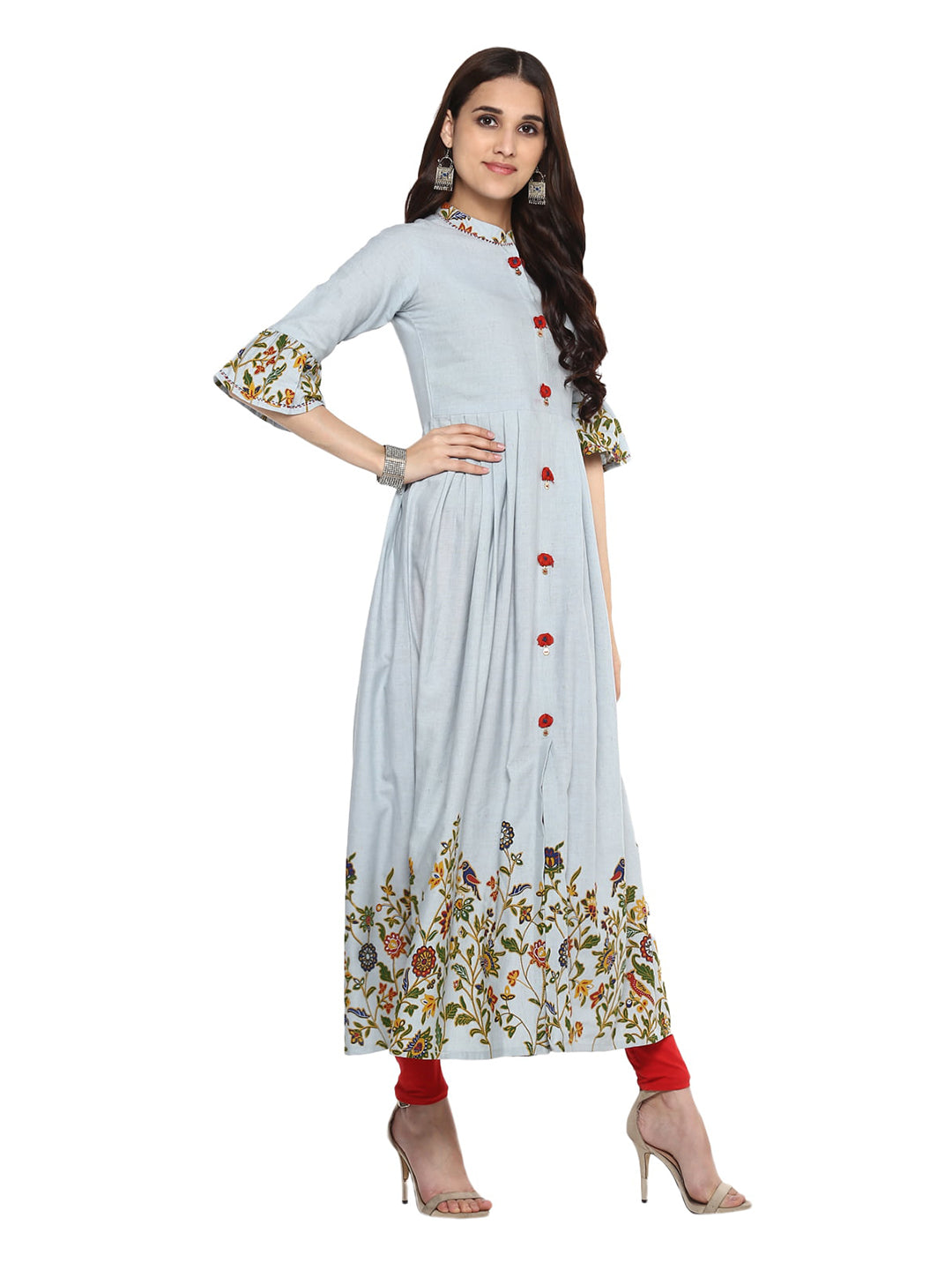 Anarkali -Cotton Floral Print Kurta (Light blue).